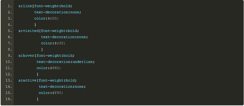 CSS四个伪类定义链接样式