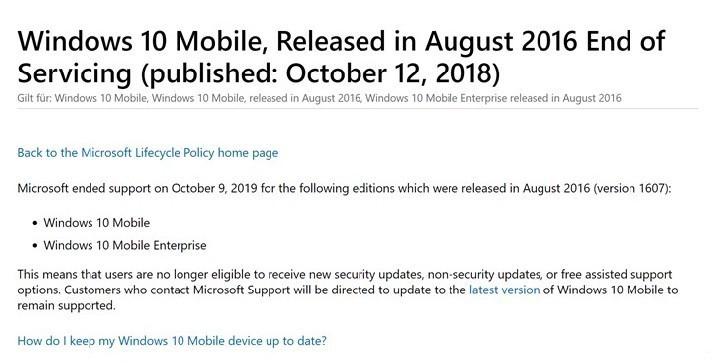 继续更新!微软延长Windows 10 Mobile一周年更新技术支持